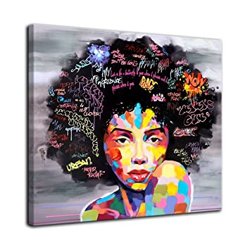 Amazon Com Amemny Abstract African American Black Art Canvas