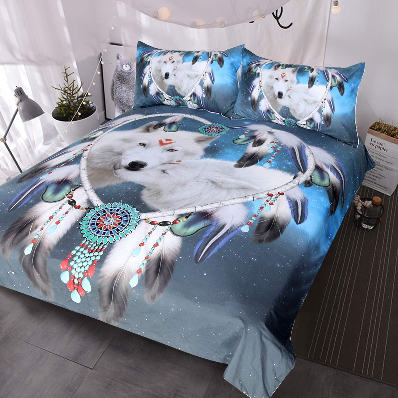 BlessLiving Wolf Dream Catcher Bedding 3 Piece White Wolves Bed Set Blue Galaxy Wolf Couple Duvet Cover (King)