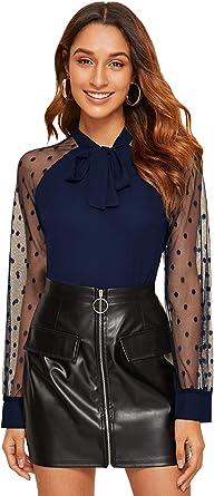 SOLY HUX Femme Blouse en Tulle À Pois Et Nœud Top avec Manches Longues Transparentes Chemisier Elégant Tee Shirt Tunique