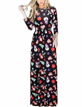 304f052ec3 Ruiyige Womens Christmas Socks Floral Print Half Sleeve Flare Swing Tunic  Casual Maxi Long Dress