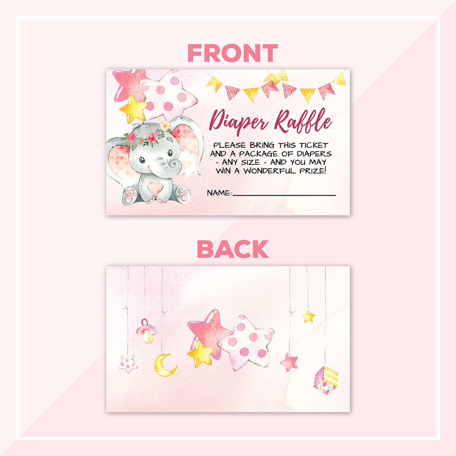 Deluxe Pink Elephant Baby Shower Invitations, Jungle, Tropical Safari Animals, Its A Girl Party Invites, Includes- 20 Each Large Double Sided 5 x 7 Invites, Raffle Tickets, and Book Request Inserts by Pink Pixie Studio (Image #4)
