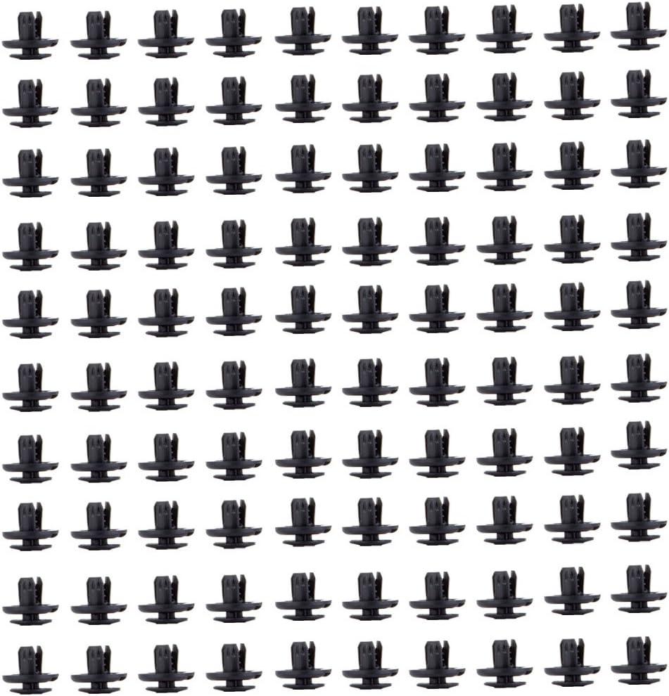 ECCPP 91512-SX0-003 Nylon Black Car Clips Push Type Retainer Clips Kit Panel Trim Fasteners Rivet Kits,100 Pcs
