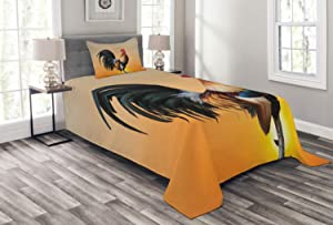 Ambesonne Rooster Bedspread, Animal Cockerel on Sunrise Farmhouse Harvest Season Rural Pastoral Nature Scenery, Decorative Quilted 2 Piece Coverlet Set with Pillow Sham, Twin Size, Beige Orange