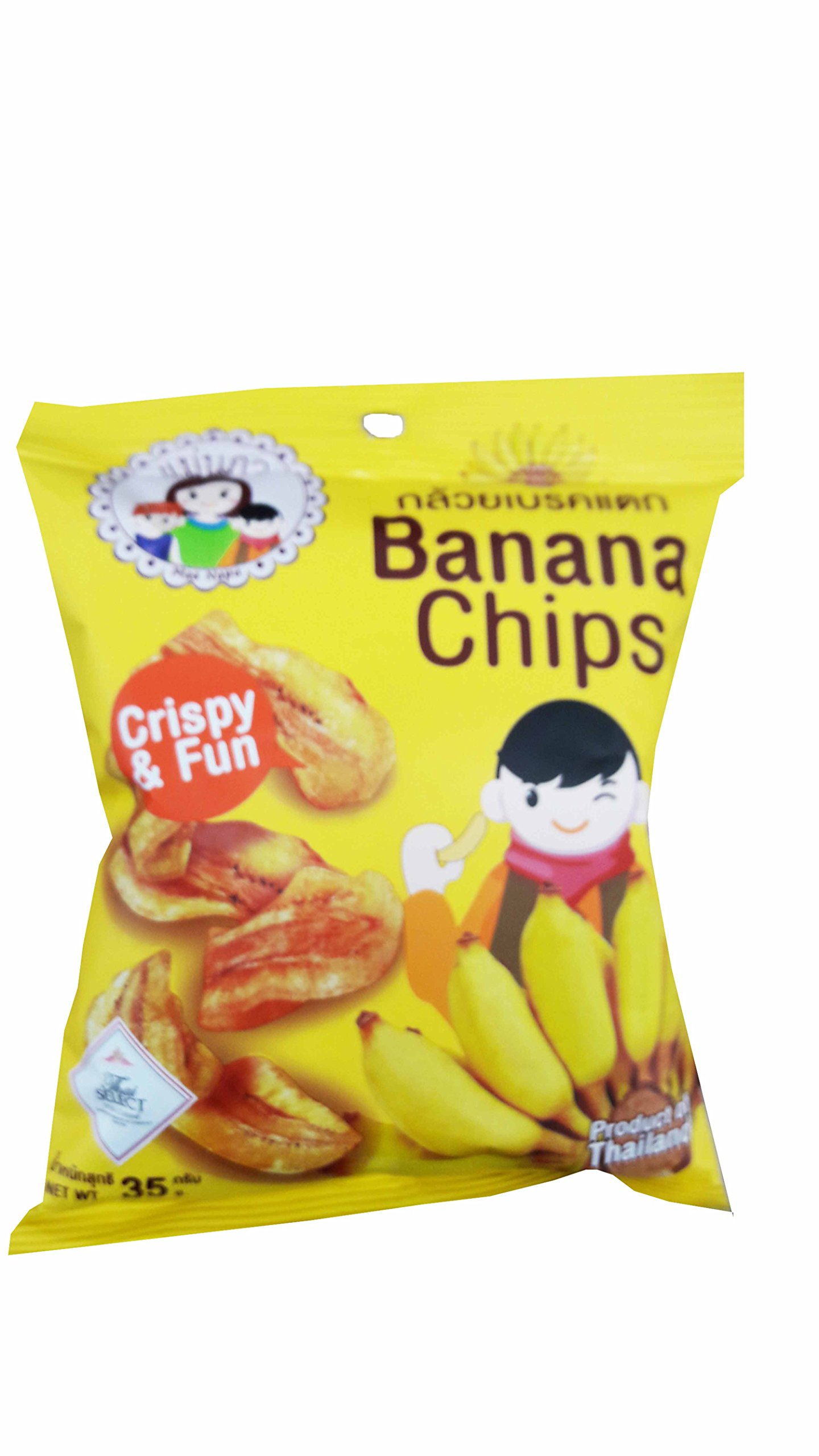 5 packs of Banana Chips, Crispy Banana by Mae Napa, Healthy and Delicious Snack. Premium quality snack from Thailand.(35 g/pack) by Mae Napa