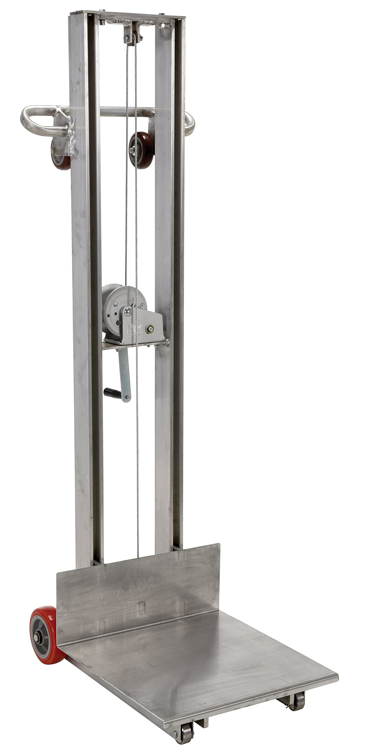 Vestil ALLW-2020-FW Aluminum Lite Load Lift Winch, 3-1/4'' - 58'' Height Range, 20'' Length x 20'' Width Platform, 400 lbs Capacity