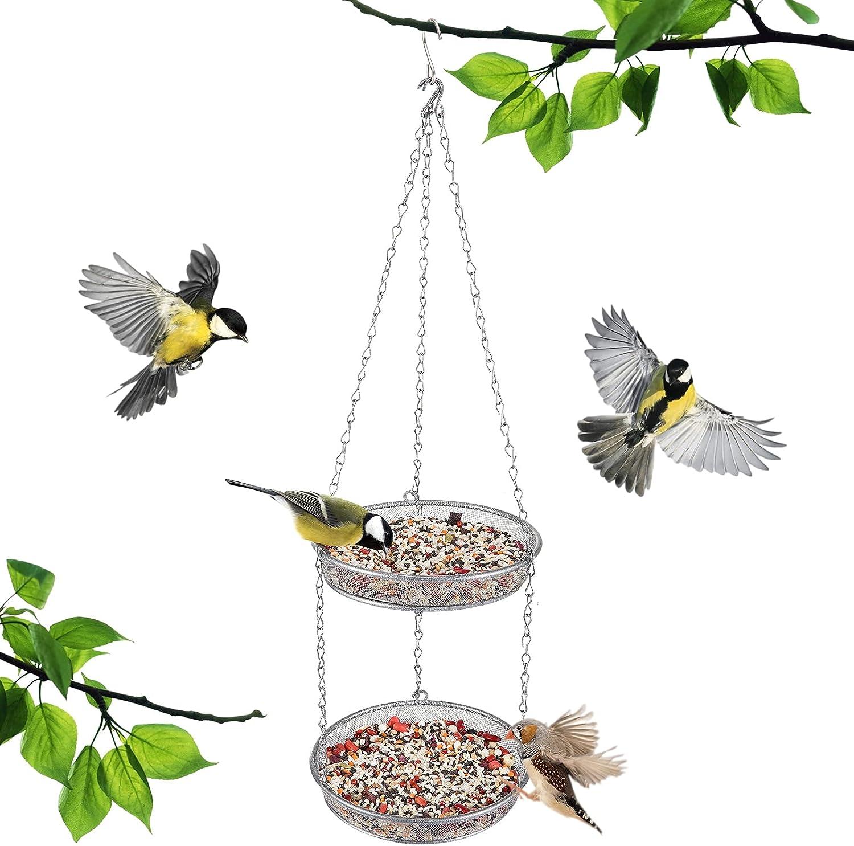 Double-Layer Round Hanging Bird Feed Tray- Metal Mesh Platform Bird Seed Catcher Dish with 6 Hanging Chains Multipurpose Detachable Birdbath for Wild Bird Feeding Outdoor Garden Backyard Decors (7in)