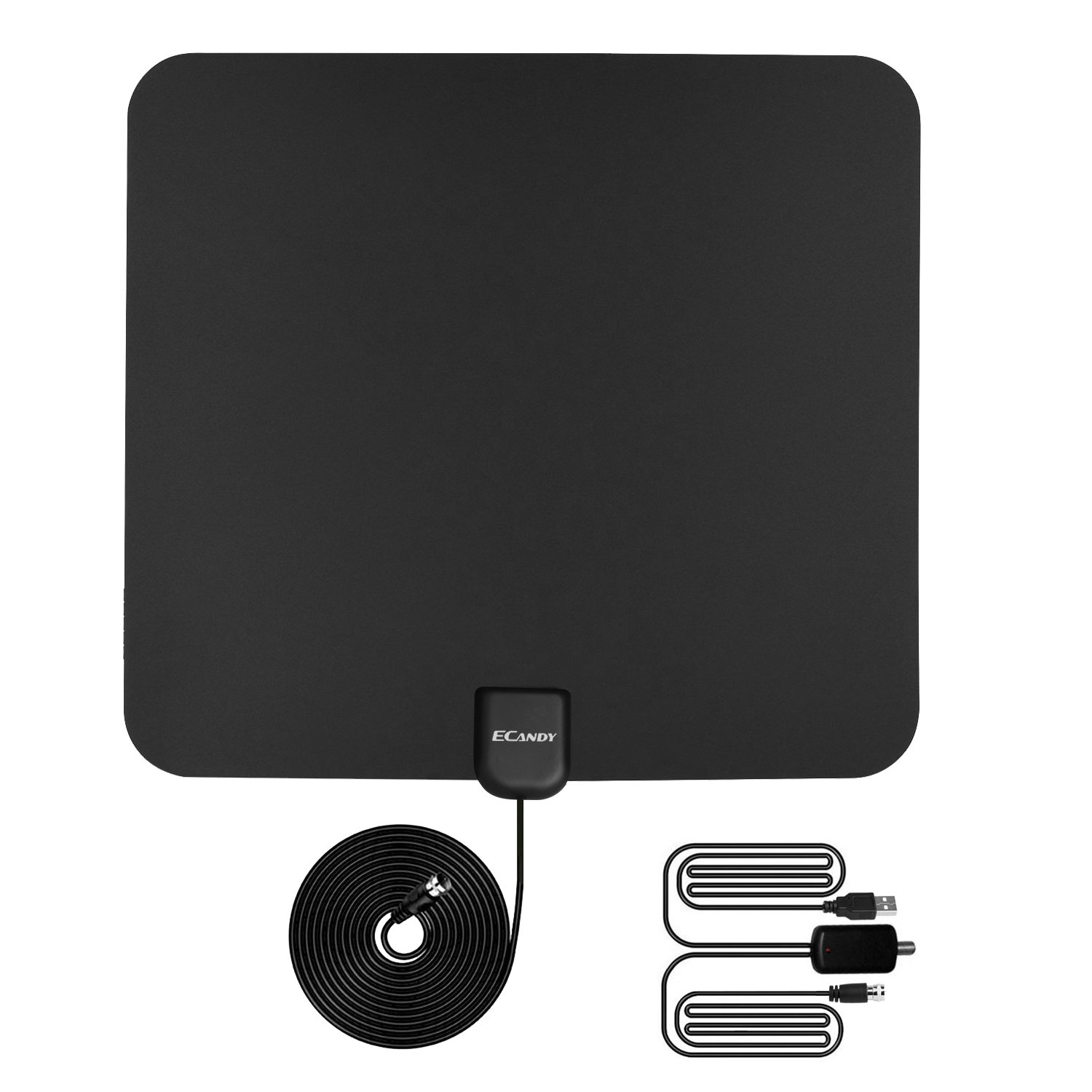 Ecandy 1080P Amplified HDTV Antenna- 50 Miles HDTV Indoor Antenna With Detachable Amplifier Signal Booster,High Reception Homeworx Antenna with 13ft Coaxial Cable for TV (Black)