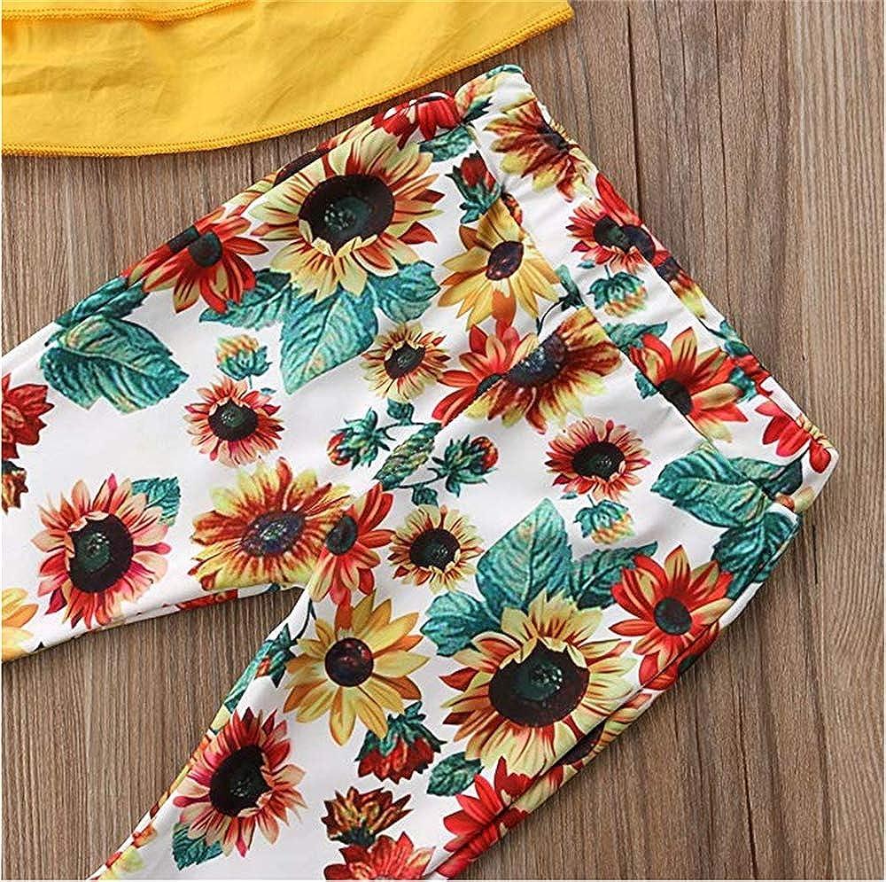 Pantaloni a Zampa Stampati 2 Pezzi per Bambina T-Shirt in Cotone Tinta Unita in Poliestere con Pantaloni Fantasia Floreale Bambina