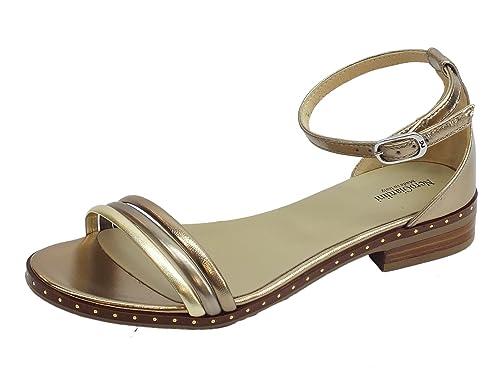 Sandali donna NeroGiardini in laminato oro e bronzo tacco basso