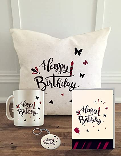 Buy ALDIVO Happy Birthday Printed Cushion Cover With Filler Coffee Mug Greeting Card And Key Ring Online At Low Prices In India