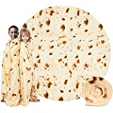 MJIYA Burrito Tortilla Wrap Blanket, Burrito Wrap Novelty Blanket Tortilla Towel for Adults/Kids, Giant Round Beach Towel/Thr