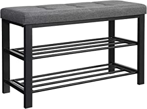 SONGMICS Shoe Bench, 3-Tier Shoe Rack for Entryway, Storage Organizer with Foam Padded Seat, Linen, Metal Frame, for Living Room, Hallway, 31.9 x 12.2 x 19.3 Inches, Dark Gray ULBS57GYZ