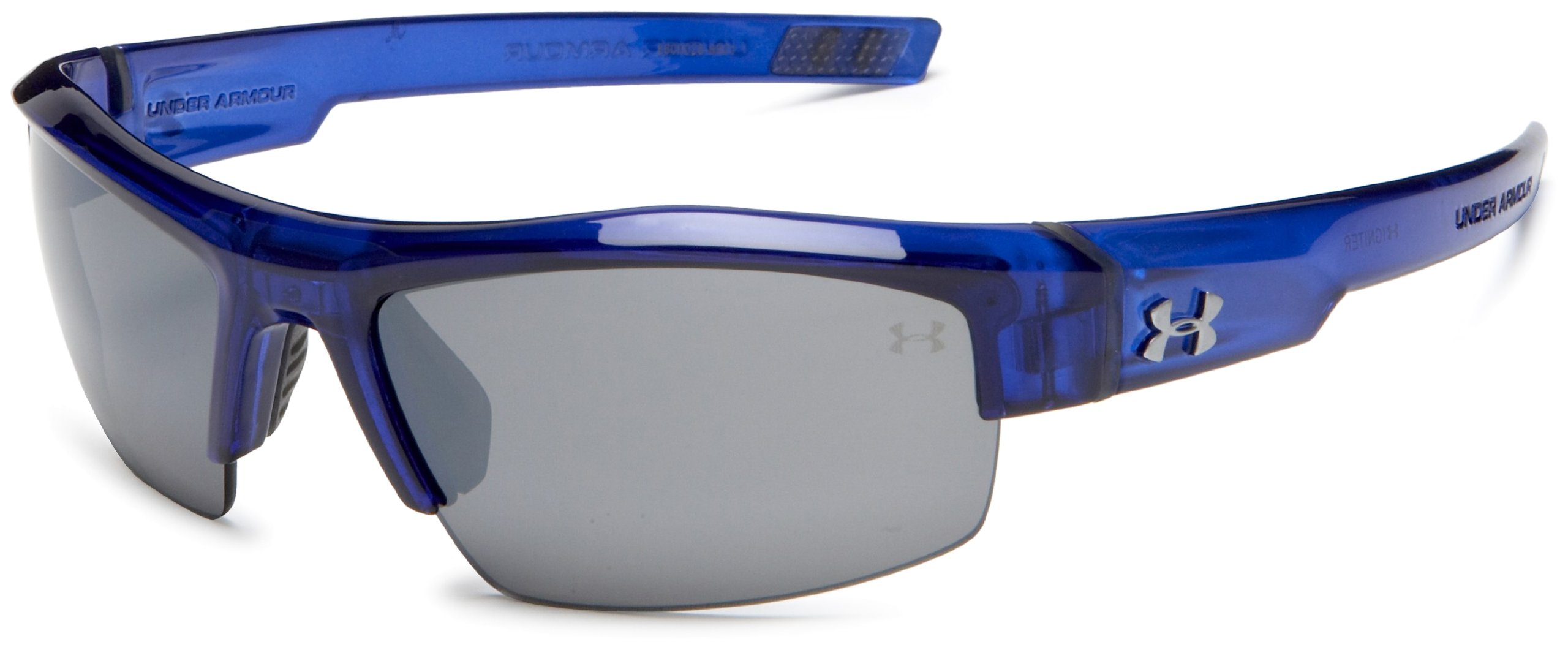 Under Armour Igniter Multiflection Rectangular Sunglasses, Crystal Royal Blue Frame/Gray Lens, one size