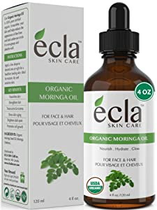 Moringa Oil Organic for Face, Hair & Skin (4 Oz 120ml) Best 100% Pure Natural Anti-aging & Hair Growth Oil - Moringa Oleifera Seed Oil Authentic Cold Pressed & Unrefined Moisturizer