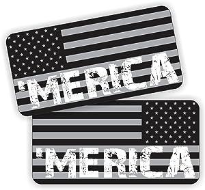 Pair ~ American Flags Black Ops MERICA Vinyl Decals | Stickers AR-15 AR15 Lower, Helmets, Hard Hats, Tool Box Motorcycle Stealth America USA Patriotic Laptop Welder Welding