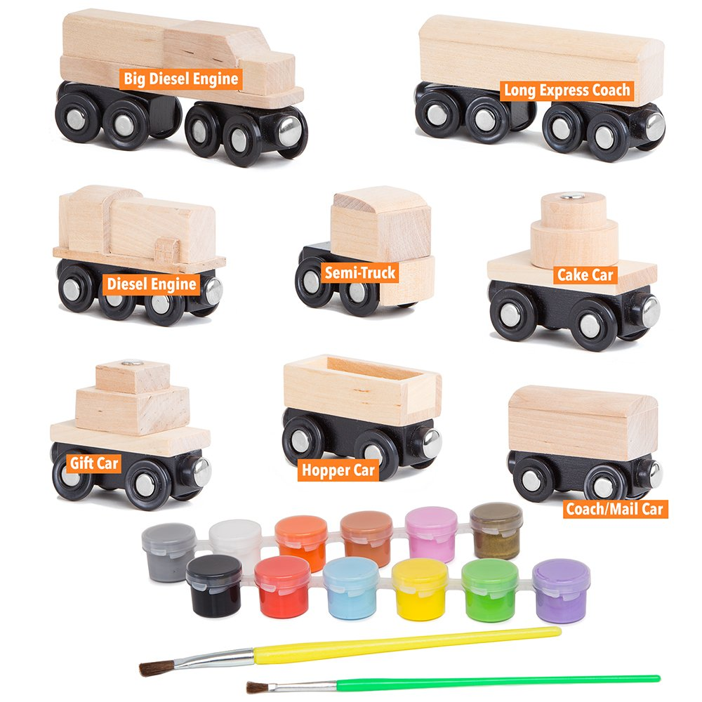Orbrium 8 Unpainted Train Cars with 12 Colors Paint and Paint Brushes Set for Wooden Railway Compatible with Thomas, Chuggington, Brio, Great for Birthday Party Train Theme by Orbrium