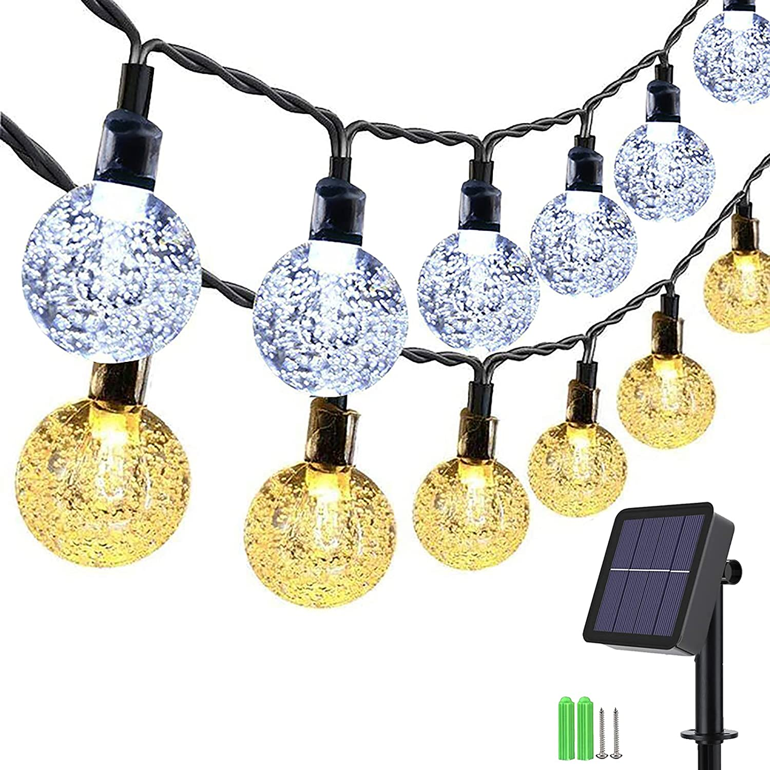 Solar Outdoor String Lights, 35.6ft 60 LED 2 in 1 Color Changing Crystal Globe Lights with 11 Lighting Modes, Waterproof Solar Patio Lights for Garden, Gazebo, Yard, Patio Decor (Warm White & White)