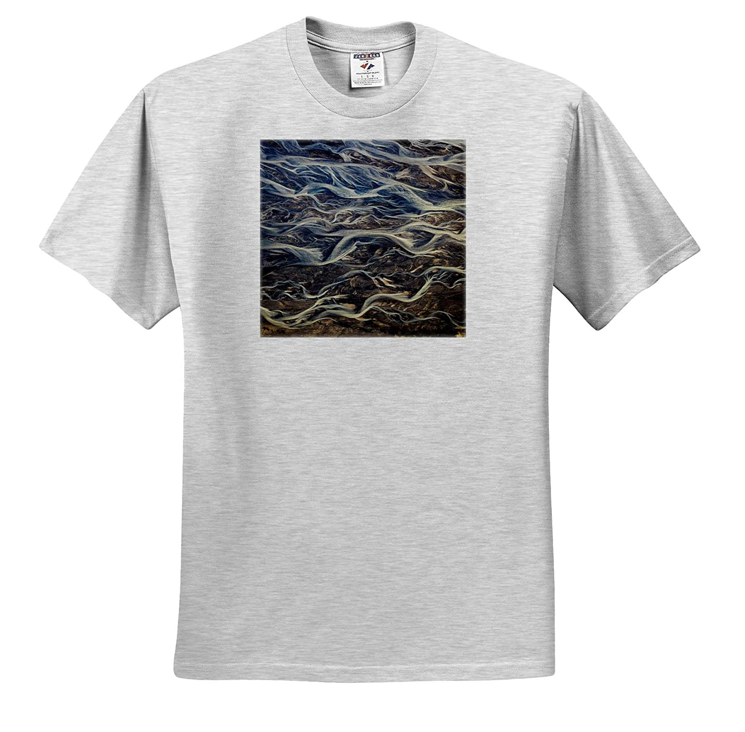 Adult T-Shirt XL ts/_313627 Abstracts Iceland Aerial of Braided Rivers 3dRose Danita Delimont