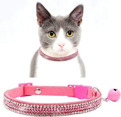 Dog collar Pink with blingy heart pet animal cat faux leather collars gift
