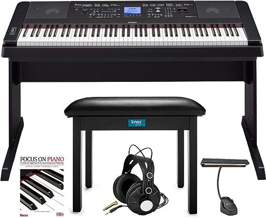 Yamaha DGX-660 Paquete de 88 teclas Grand Piano con banco abatible Knox, luz de música LED, auriculares Knox Studio y Focus Piano Book/CD (5 ...
