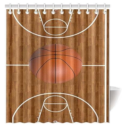 Sports Shower Curtain Empty Basketball Court Print for Bathroom