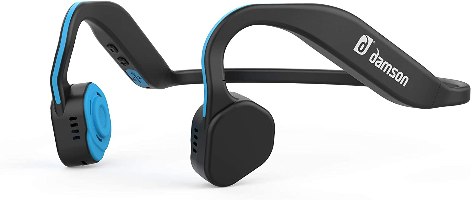 Damson HeadBones X – Wireless Bluetooth Bone Conduction Headphones with Built-in Microphone – Water and Sweat Resistant Blue