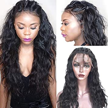 Amazon.com   Sunwell Full Lace Human Hair Wigs with Baby Hair Virgin  Brazilian Human Hair Wigs for Black Women Water Wave 130% Density Natural  Color 10inch ... e9c0a53ed3