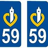 2 Stickers Autocollant style Plaque Immatriculation département 59