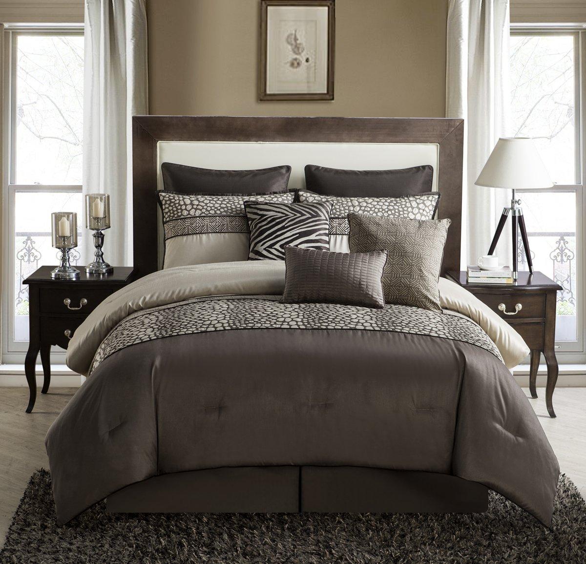 Brown KING 106  X 92  VCNY Brown Mali 9-Piece King Comforter Set