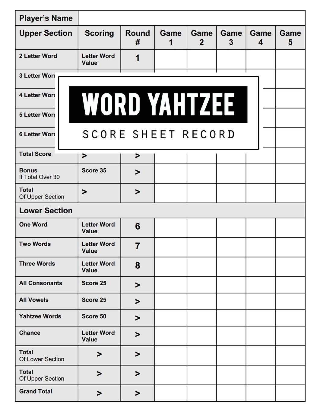 graphic relating to Yahtzee Score Cards Printable called Term Yahtzee Ranking Background: Phrase Yahtzee Activity History Keeper