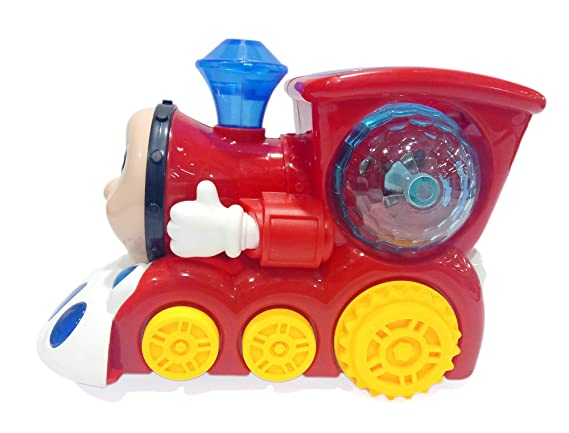 Popsugar Musical Bump and Go Smiley Train with Flashing Lights, Red