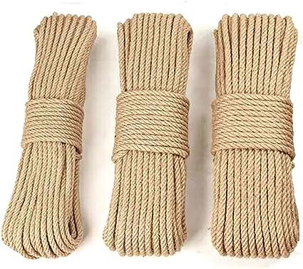 30M Cuerda de Yute Cuerda Cáñamo Natural Gruesa cuerda de sisal - 6mm,8mm,10mm 4 Capas (10 metros de cada tamaño) para Jardín Boda Sash Camping ...