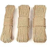 30M Cuerda de Yute Cuerda Cáñamo Natural Gruesa cuerda de sisal - 6mm,8mm,10mm 4 Capas (10 metros de cada tamaño) para Jardín Boda Sash Camping Mascotas Barcos Hogar Animales Escalada Árbol de Gato