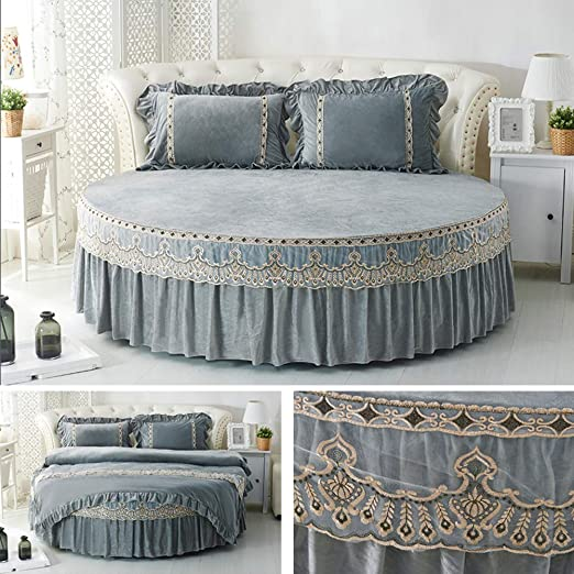 Home Round Bed Sheets Soft Pure Cotton Easy Fit Breathable Bed Covers White
