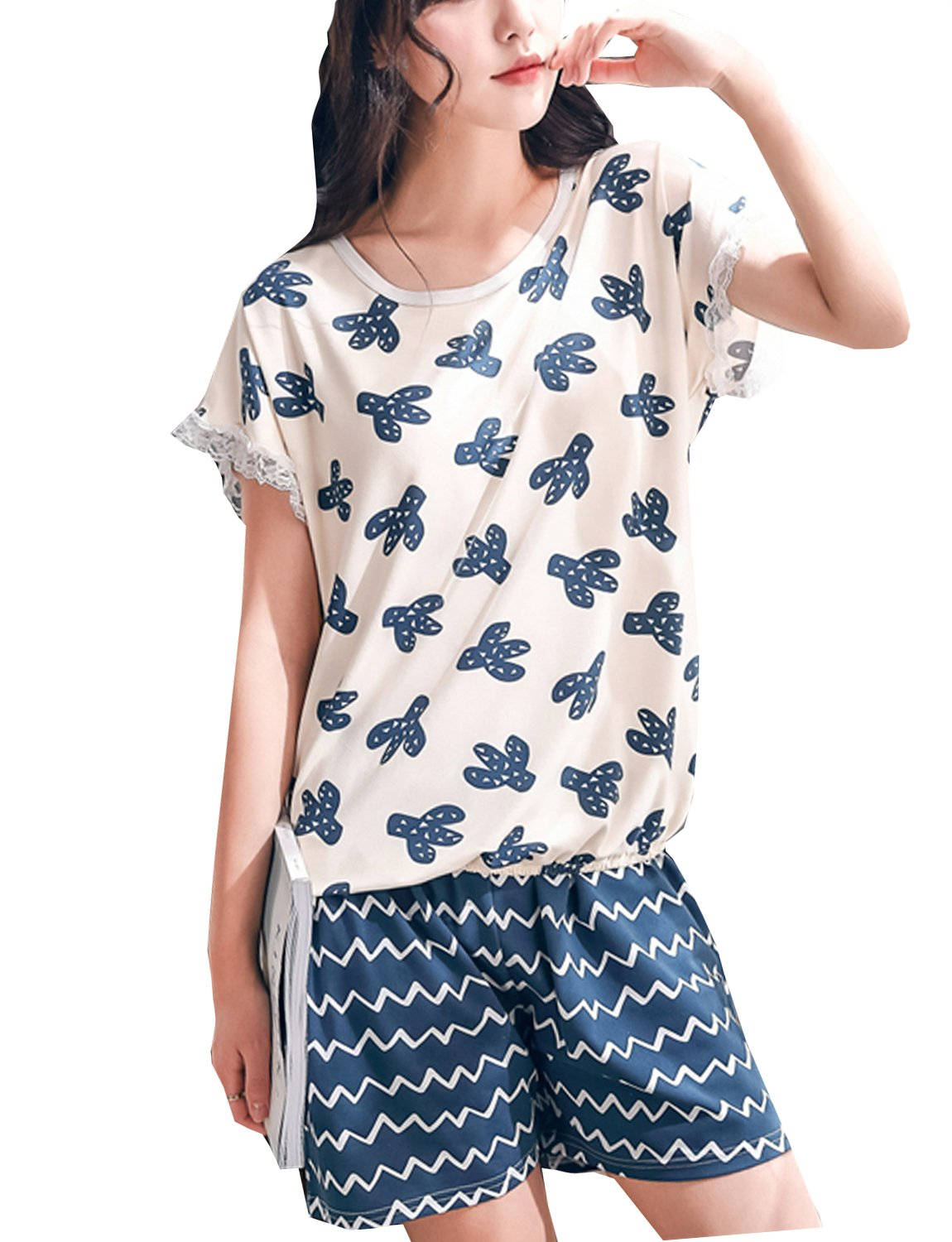LLP Teen Girls Lovely Cartoon Summer Pajama 2 Pieces Casual Sleepwear (8-16 Years Old)