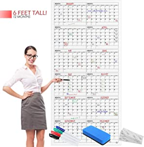 "Scribbledo Jumbo Dry Erase Yearly Calendar 36"" X 75"" 12 Month Reusable Wall Planner Includes 4 Markers 1 Eraser and Mounting Tape…"