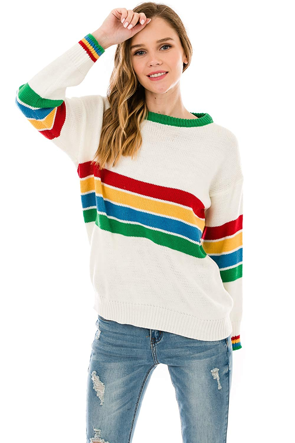 Over Kleshas Women's Sweater Rainbow Multi Stripe on Chest AKT1389