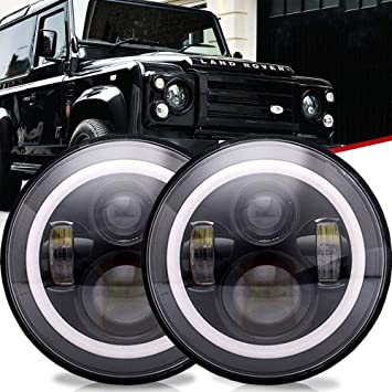 """2X 7/"""" Round LED Headlights Lamp Hi//Lo Beam w// DRL For Je-ep Land Rover Defender"""
