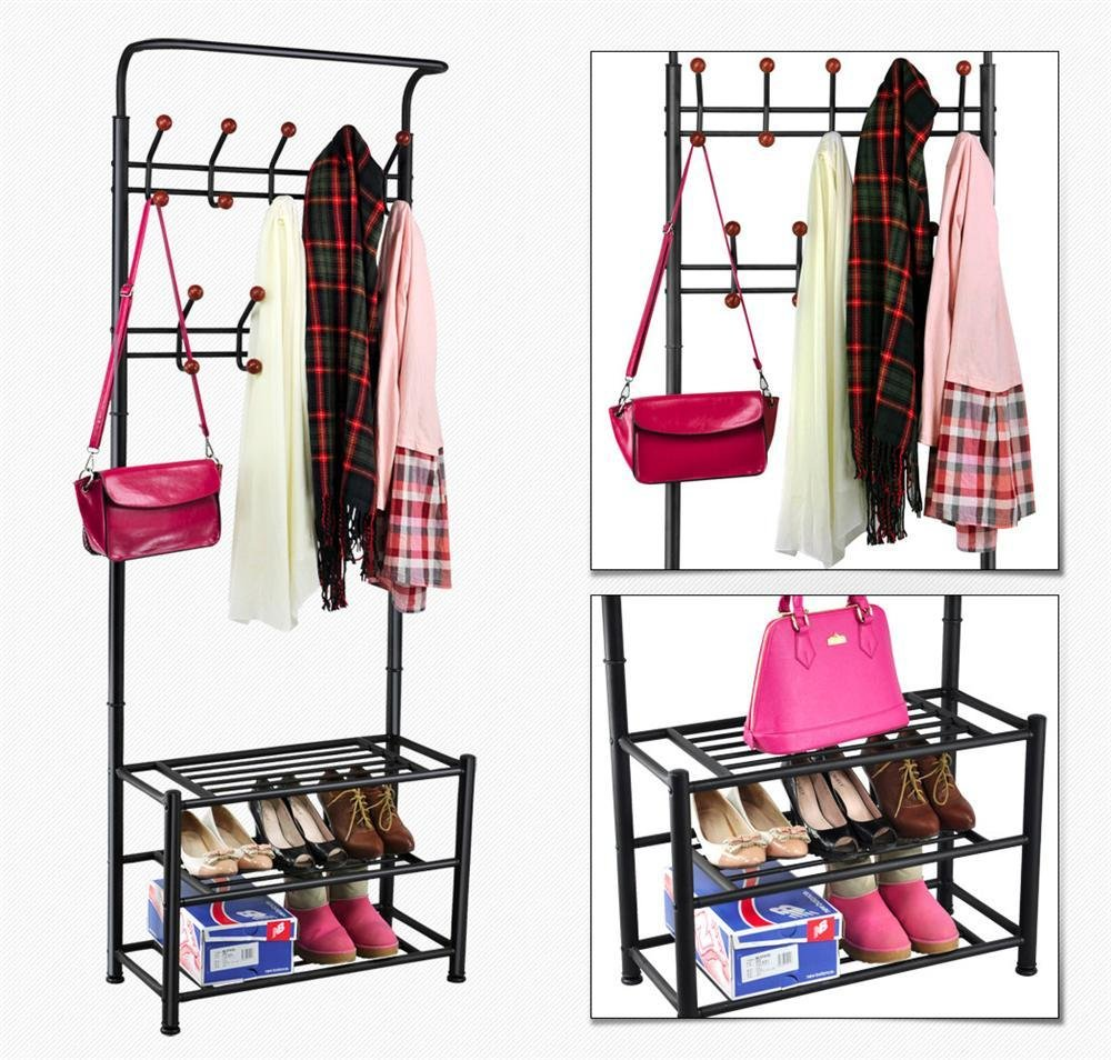 World Pride Metal Multi-Purpose Clothes Coat Stand, Shoes Rack Umbrella Stand, with 18 Hanging Hooks, Max Load Capicity Up to 67.5Kg 148.8Lb, 26.7 x 12.2 x 74 Black