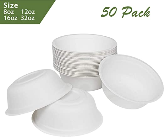 Made from Sugercane Fibers Durable Bagasse Eco-Friendly Rice Bowls 8oz Pack of 50 Bowls 50 Count, 8oz Compostable Microwave Safe