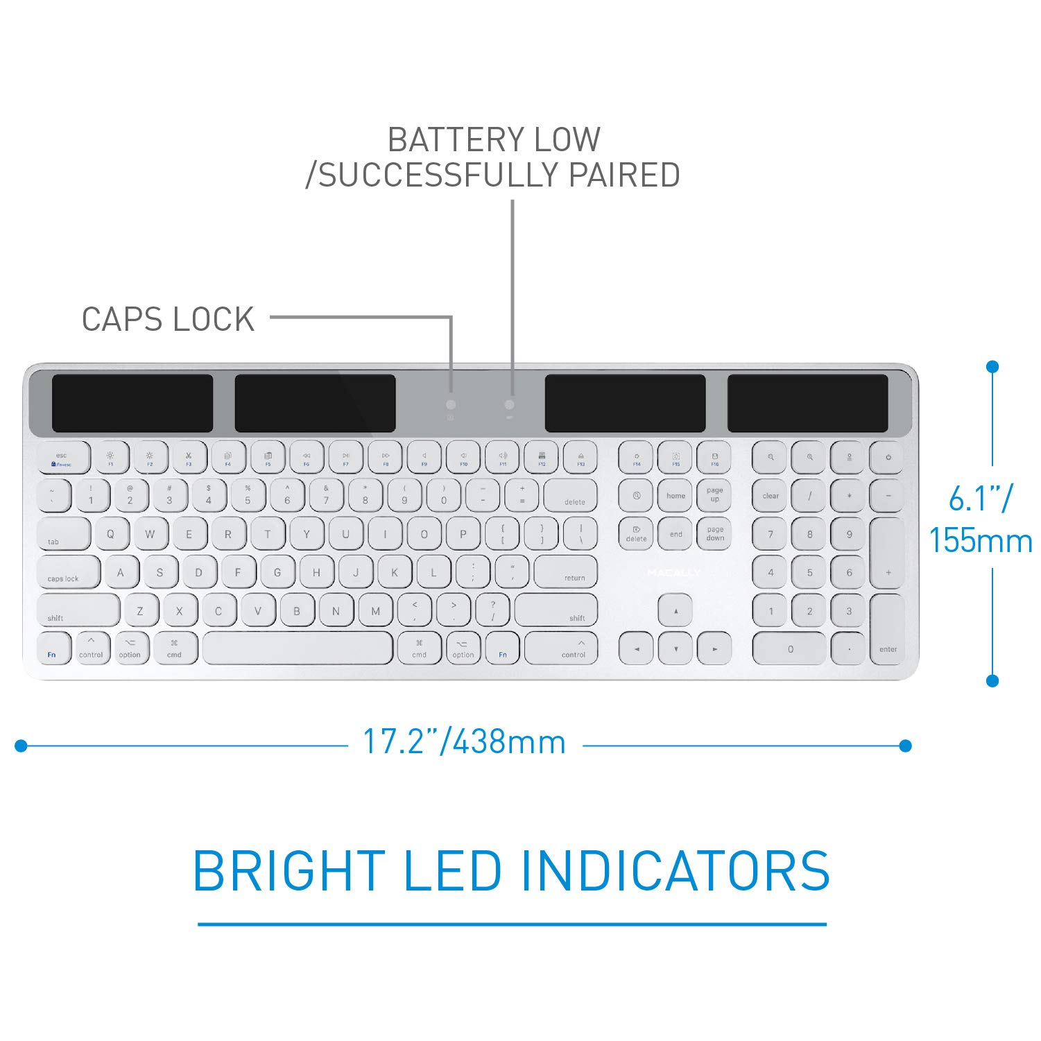 Macally Wireless Solar Keyboard for Mac Mini/Pro, iMac Desktop Computers & Apple MacBook Pro/Air Laptops | 2.4 Ghz RF USB Dongle | Caps Lock/Battery Indicators - Silver Aluminum, Gray by Macally (Image #5)