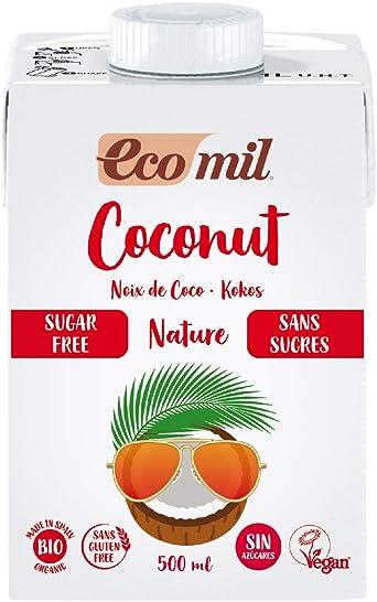 Ecomil Leche de coco sin azúcares Bio 500ml.Sin lactosa, sin gluten, sin azúcares, sin soja, sin huevo, sin azúcares añadidos, sin proteína láctea y ...