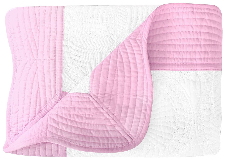 EPGM Baby Blanket Newborn Lightweight Quilt with Embossed Detail, White