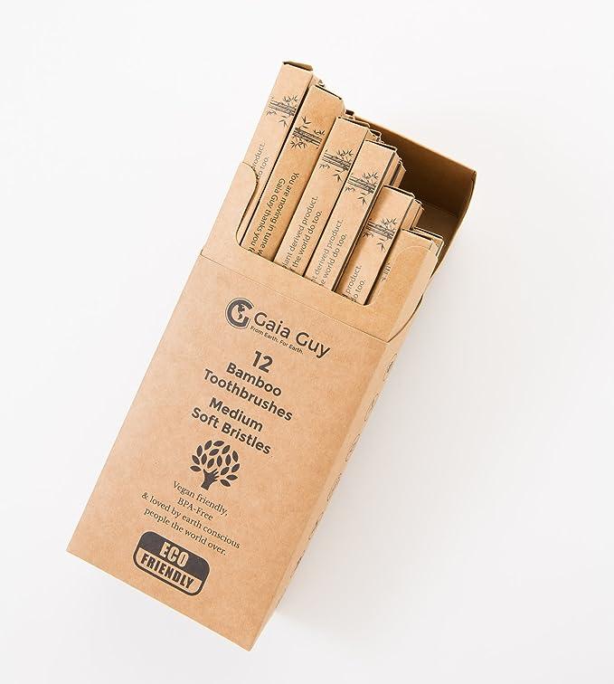 Bambú carbón de bambú cepillo de dientes conjunto de 12 - Naturales con cepillos de dientes - sin BPA: Amazon.es: Salud y cuidado personal