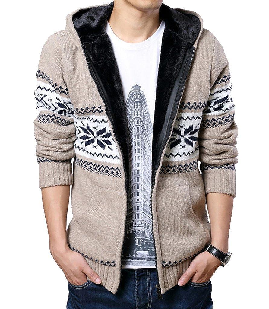 WSLCN Men's Warm Knit Hooded Cardigan Fleece Lined Argyle Patterned MY0299