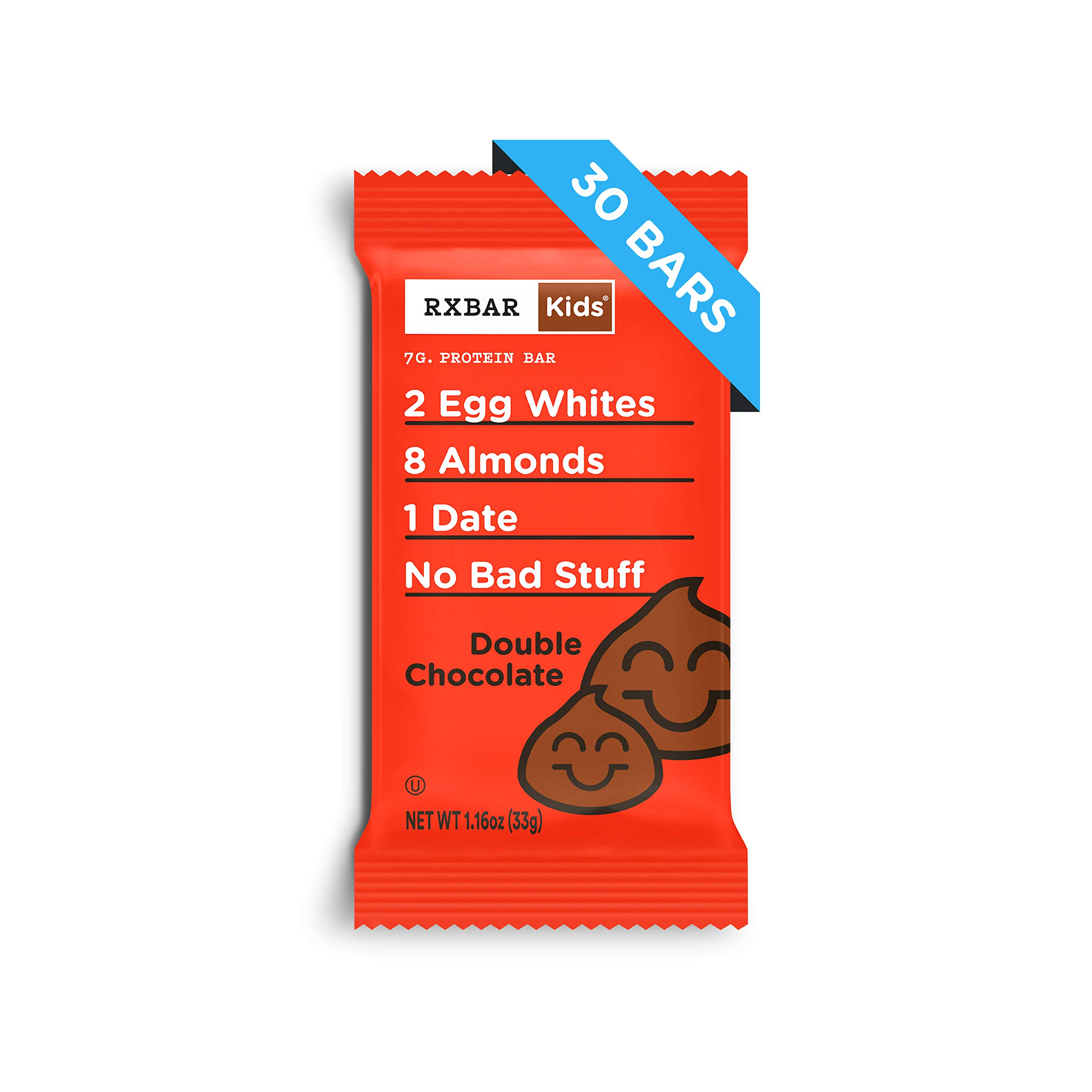 RXBAR Kids Real Food Protein Bar, Double Chocolate, Gluten Free, 1.16oz Bars, 30 Count