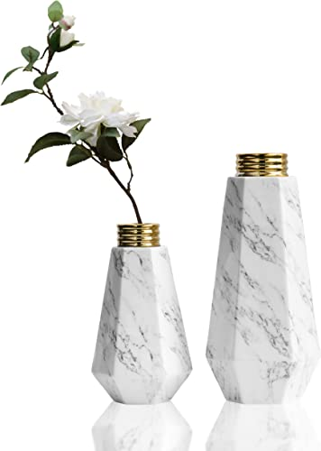 TERESA S COLLECTIONS Modern Ceramic Flower Vases, Marble Texture with Gold Detailing,White Geometric Set of 2 Decorative Vases for Kitchen,Office,Wedding or Living Room