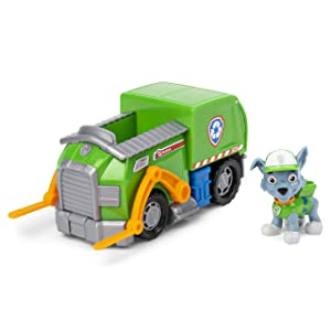 Paw Patrol Rocky's Recycle Truck Vehicle with Collectible Figure, for Kids Aged 3 and Up