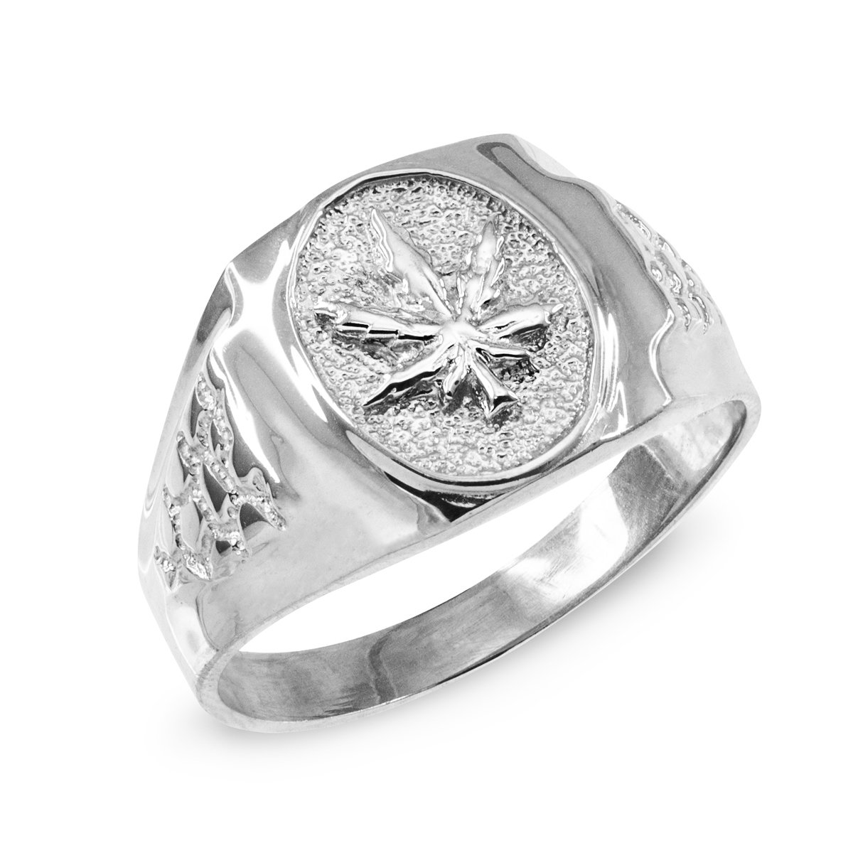 Men's High Polish 925 Sterling Silver 420 Pot Ganja Weed Cannabis Marijuana Leaf Ring (Size 9.5)