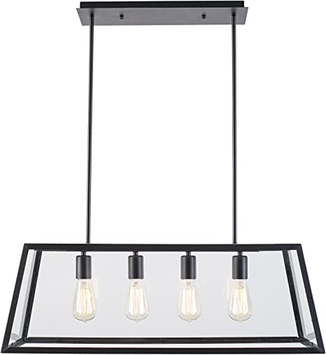 Light Society Morley 4 Light Kitchen Island Pendant Matte Black Shade With Clear Glass Panels Modern Industrial Chandelier Ls C104 Amazon Com